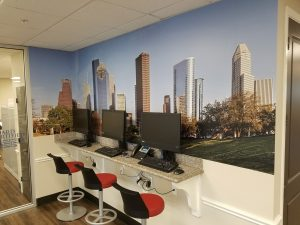 custom vinyl wall mural cityscape Houston